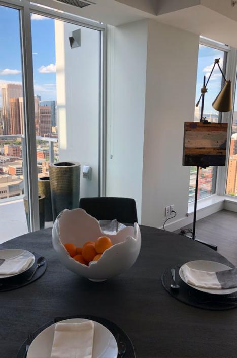 Phillips Collection broken egg bowl in condominium kitchen