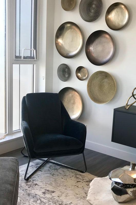 Wall art in sitting area of condominium