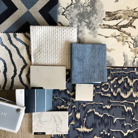 Blue and ivory fabric paint and countertop swatches